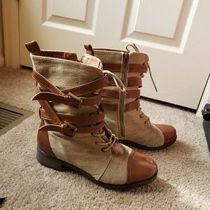 Canvas and leather buckle strap steampunk boots